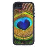 Azul del pájaro de la pluma del pavo real y iPhone 5 Case-Mate protectores