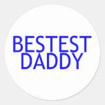Azul del papá de Bestest Pegatina Redonda