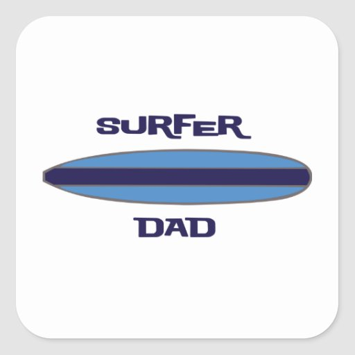 Azul del papá de la persona que practica surf calcomania cuadradas personalizada