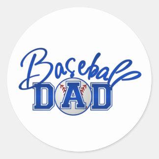 Azul del PAPÁ del béisbol Etiqueta Redonda