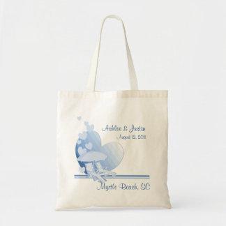 Azul del parasol de playa del amor de la orilla bolsa