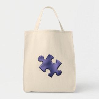 Azul del pedazo del rompecabezas del autismo bolsa de mano