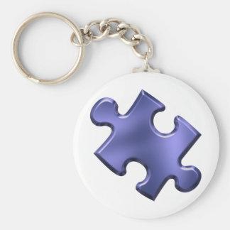 Azul del pedazo del rompecabezas del autismo llavero redondo tipo pin