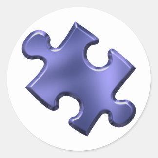 Azul del pedazo del rompecabezas del autismo pegatina redonda