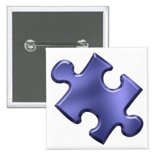 Azul del pedazo del rompecabezas del autismo pin cuadrado