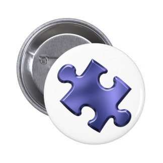 Azul del pedazo del rompecabezas del autismo pin redondo 5 cm