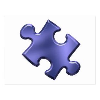 Azul del pedazo del rompecabezas del autismo postal
