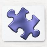 Azul del pedazo del rompecabezas del autismo tapete de ratones