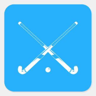 Azul del pegatina de la silueta del hockey hierba