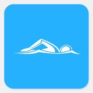 Azul del pegatina del logotipo de la nadada