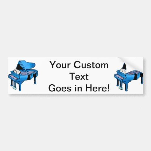 Azul del piano con diseño gráfico del piano de la  pegatina para auto