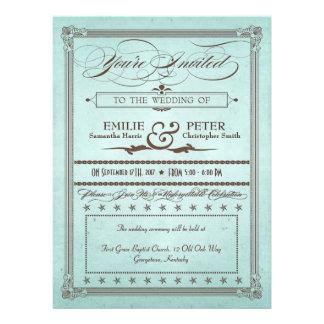 Azul del poster del vintage y boda y recepción de invitacion personalizada