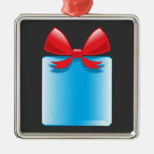 Azul del presente de cumpleaños adorno cuadrado plateado
