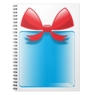 Azul del presente de cumpleaños libros de apuntes con espiral