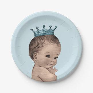 Azul del príncipe fiesta de bienvenida al bebé del plato de papel de 7 pulgadas