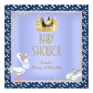 """Azul del Príncipe heredero del bebé del muchacho Invitación 5.25"""" X 5.25"""""""