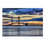 Azul del puente de Mackinac 1155 Postales