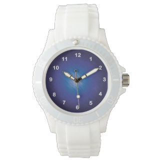 Azul del rasguño reloj de mano