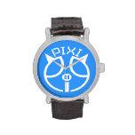 Azul del reloj del vintage de la firma de Pixipig