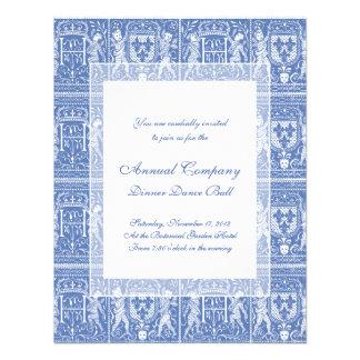 Azul del renacimiento medieval y blanco elegantes comunicados personalizados