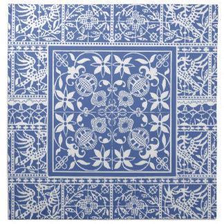 Azul del renacimiento medieval y blanco elegantes servilleta de papel