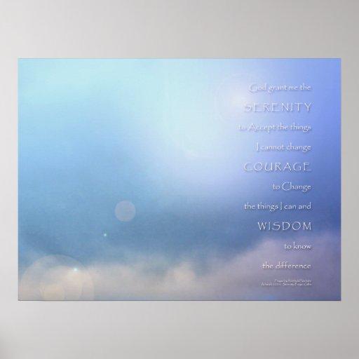 Azul del rezo de la serenidad más allá de la impre poster