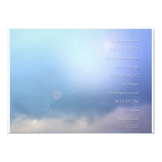 Azul del rezo de la serenidad más allá de la invitación 12,7 x 17,8 cm