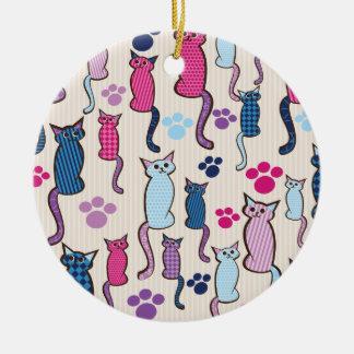 Azul del rosa del modelo del gato ornamentos de reyes