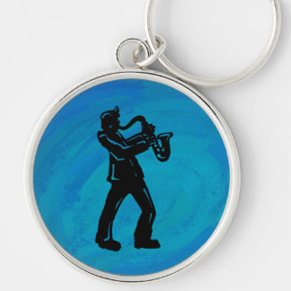 Azul del saxofón de las noches de la boogie de llavero redondo plateado