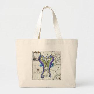 Azul del Seahorse Bolsa Tela Grande