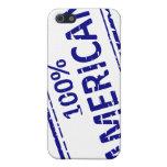 Azul del sello de goma del AMERICANO del 100% en b iPhone 5 Cárcasas