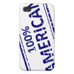 Azul del sello de goma del AMERICANO del 100% en b iPhone 4 Funda