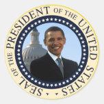Azul del sello de Obama Pegatina Redonda