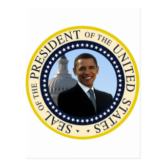Azul del sello de Obama Tarjeta Postal