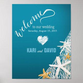 Azul del signo positivo del boda de playa de la póster