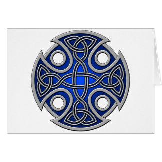 Azul del St. Brynach y gris cruzados Tarjeta De Felicitación