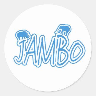 Azul del suajili de Jambo hola Pegatina Redonda