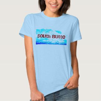Azul del sur de la mota en la camisa de la mujer