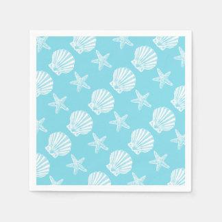 Azul del tema de la playa de la cáscara de las servilleta desechable