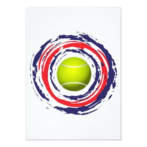 """Azul del tenis y blanco rojos invitación 5"""" x 7"""""""