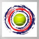 Azul del tenis y blanco rojos poster