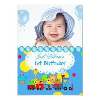 """Azul del tren del primer cumpleaños del bebé 1r invitación 4.5"""" x 6.25"""""""