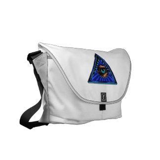 Azul del triángulo con el ojo del ojo de Providenc Bolsas Messenger