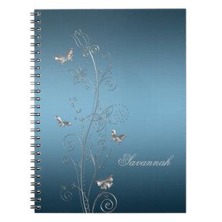 Azul del trullo con los cuadernos florales de plat