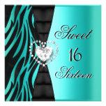 Azul del trullo de la cebra de la fiesta de cumple invitacion personalizada