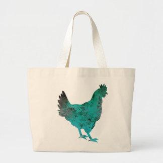 Azul del trullo de la gallina del pollo en el bolsa de tela grande