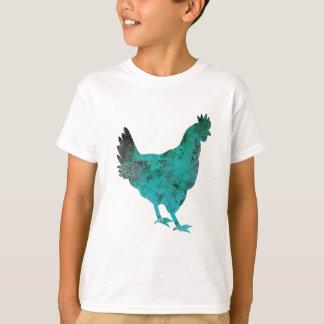 Azul del trullo de la gallina del pollo en el playera