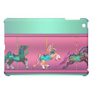 Azul del trullo de los caballos del carrusel