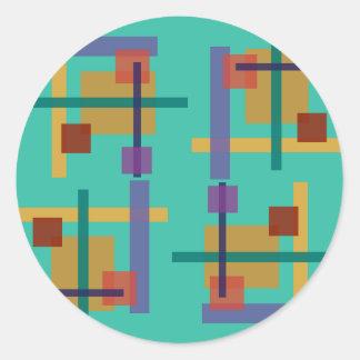 Azul del trullo del Abstractionist Etiqueta Redonda