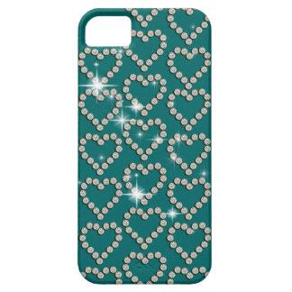 Azul del trullo del diamante del corazón iPhone 5 cobertura